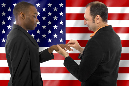same sex: same sex gay couple legally married in United States of America Stock Photo