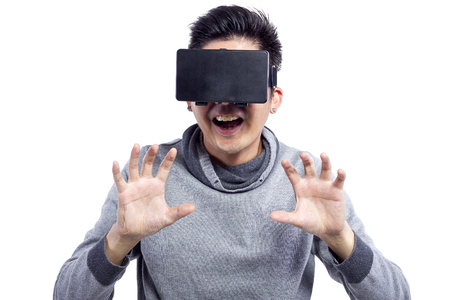 an eyepiece: Young male watching 1st Person Perspective 3d VR movies with headset