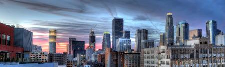 Historische kern en het Financial District van Downtown Los Angeles Stockfoto - 46411144