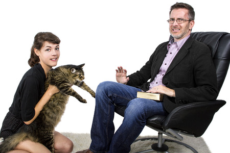 Allergic father dislikes daughters pet cat because of fur on jacket