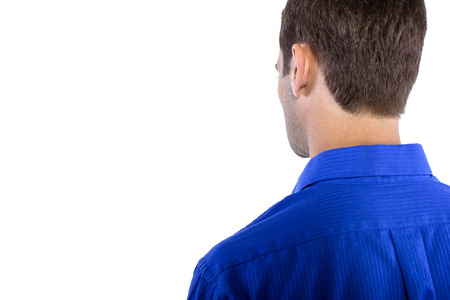 blue collar: Young businessman in blue collar shirt isolated on a white background