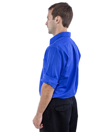 collar shirt: Young businessman in blue collar shirt isolated on a white background