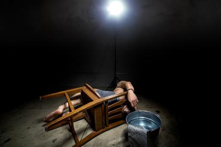 inhumane: Prisoner being punished with cruel interrogation technique of waterboarding
