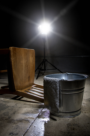 torture: Torture chamber with a water bucket for controversial waterboarding