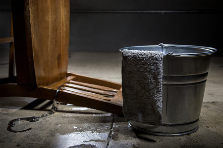 inhumane: Torture chamber with a water bucket for controversial waterboarding