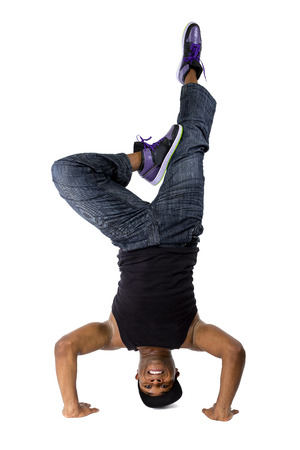 breakdancing: Hip hop breakdancer or dance workout instructor balancing upside down