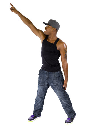 baile hip hop: Fit hip hop dance instructor or musician with mic tattoo advertising something