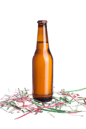 beers: Unlabeled beers or cervesa with Cinco De Mayo holiday confetti