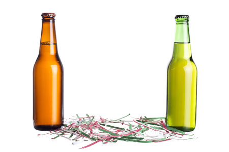 unlabeled: Unlabeled beers or cervesa with Cinco De Mayo holiday confetti