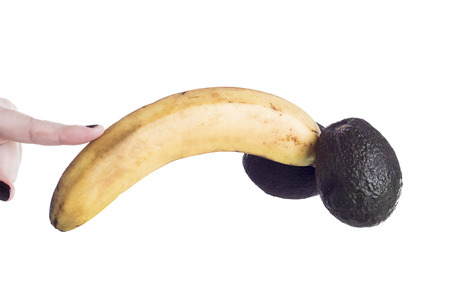 Fruit analogy of a male genital for education illustrative editorial