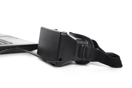 Virtual reality headset device with cable connected or tethered to computer on a white background