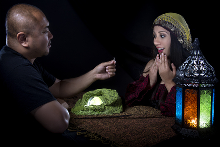psychic: Female psychic is surpised of her own future when client proposes engagement to her