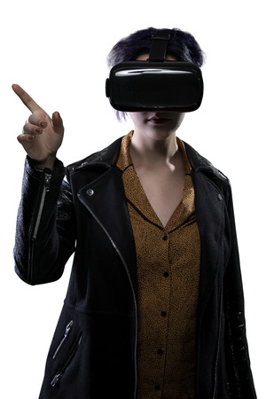 computer simulation: Woman wearing a VR virtual reality headset gesturing and isolated on a white background for composites