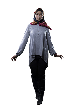 Woman wearing conservative traditional hijab with modern style clothing. The head scarf is associated with islamic religious traditions and middle eastern or east european cultures. Stock Photo