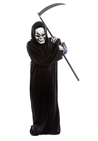Costume of a skeleton grim reaper wielding a scary scythe.  The undead ghost is wearing a black robe to represent October Halloween holiday.  Isolated on a white background