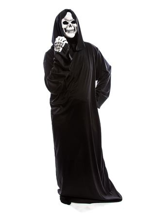 Halloween costume of a skeleton grim reaper wearing a black robe on a white background gesturing angry expressions