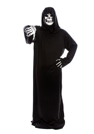 Halloween costume of a skeleton grim reaper wearing a black robe on a white background gesturing thumbs down