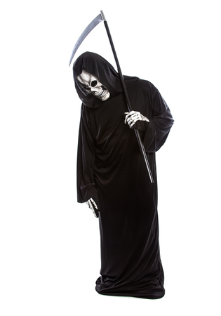 Halloween costume of a skeleton grim reaper wearing a black robe on a white background looking upset at making a mistake