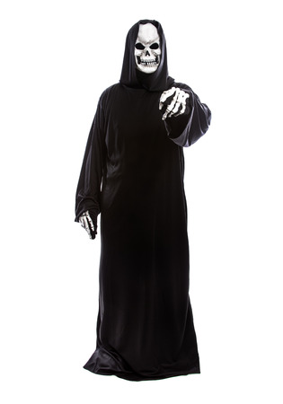 Halloween costume of a skeleton grim reaper wearing a black robe on a white background pointing forward
