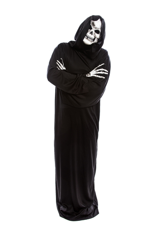 Halloween costume of a skeleton grim reaper wearing a black robe on a white background looking impatient or upset and waiting Фото со стока