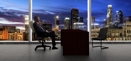 Businessman with an empty chair waiting for a late client in city of LA