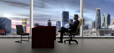 Businessman with an empty chair waiting for a late client in Los Angeles