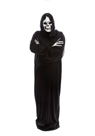 Halloween costume of a skeleton grim reaper wearing a black robe on a white background gesturing sad or depressed expressions