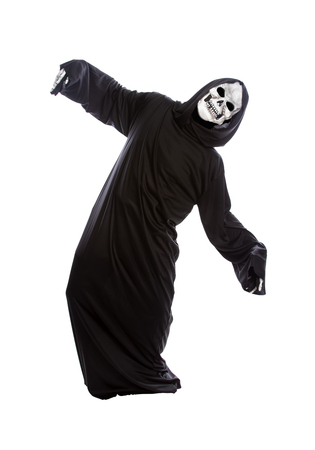 Halloween costume of a skeleton grim reaper wearing a black robe on a white background acting like getting hit or beat up by someone 스톡 콘텐츠