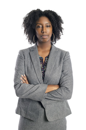 Black African American female businesswoman isolated on a white background looking confident and successful Stock Photo - 120788371