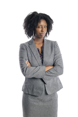 Black African American female businesswoman isolated on a white background looking disgusted and embarrassed Stockfoto - 120788375