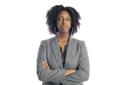 Black African American female businesswoman isolated on a white background looking confident and successful