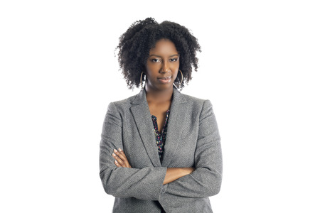 Black African American female businesswoman isolated on a white background looking disgusted and embarrassed Archivio Fotografico
