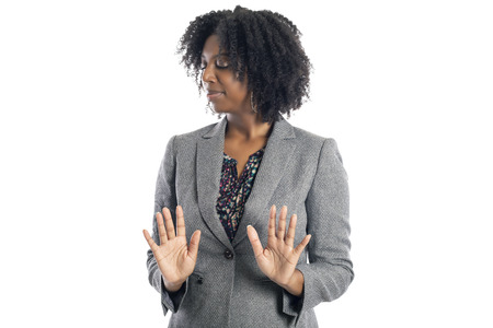 Black African American female businesswoman isolated on a white background looking disgusted and embarrassed Stok Fotoğraf - 120788430