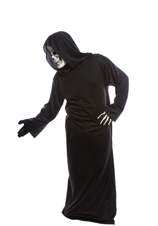 Person dressed in grim reaper or death ghost Halloween costume looking confused or undecided Stok Fotoğraf - 122008195
