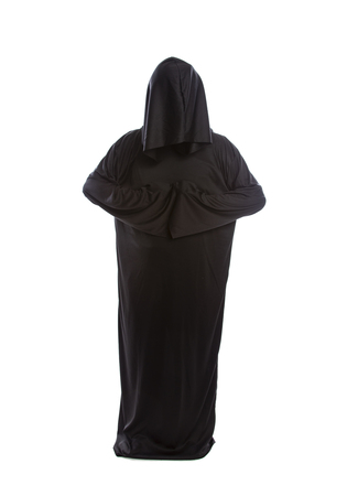 Monk wearing black robes and a hood or a person in a halloween costume of a grim reaper ghost.  The image depicts a priest in traditional or ancient clothing.  Stock Photo