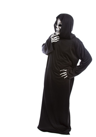 Person dressed in grim reaper or death ghost Halloween costume looking confused or undecided Stok Fotoğraf - 122008199