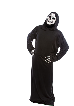 Person dressed in grim reaper or death ghost Halloween costume looking confused or undecided Stok Fotoğraf - 122008202