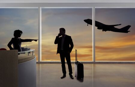 Stressed out businessman passenger arguing with a flight attendant or receptionist at an airport check in counter.  He is angry because of a delayed or cancelled flight.