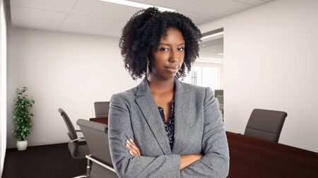 Black African American businesswoman in an office looking disgusted.  She is an owner or an executive of the workplace.  Depicts careers and startup business. Stok Fotoğraf - 127926860