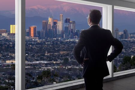 Businessman wearing a suit looking at the buildings of downtown Los Angeles from an office window.  The man looks like a politician like a mayor, or an architect or a real estate developer working in LA.