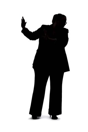 Silhouette of a curvy or plus size businesswoman on a white background for composites.  She is gesturing to stop