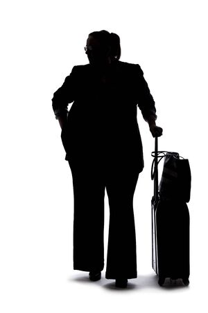 Silhouette of a curvy or plus size businesswoman on a white background for composites. She is waiting patiently