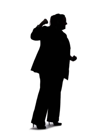 Silhouette of a curvy or plus size businesswoman on a white background for composites.  She is punching something