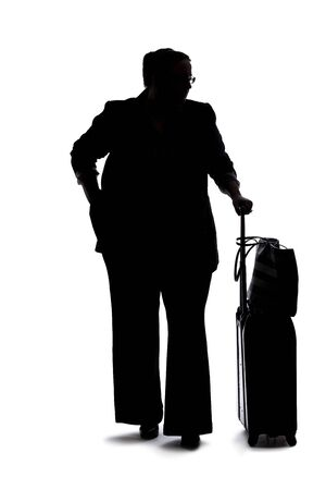 Silhouette of a curvy or plus size businesswoman on a white background for composites. She is waiting patiently Stock Photo