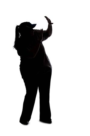 Silhouette of a curvy or plus size woman on a white background. She is unrecognizable holding hands up as a stop gesture