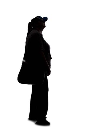 Silhouette of a curvy or plus size woman on a white background. She is unrecognizable and is wearing casual apparel and waiting in line
