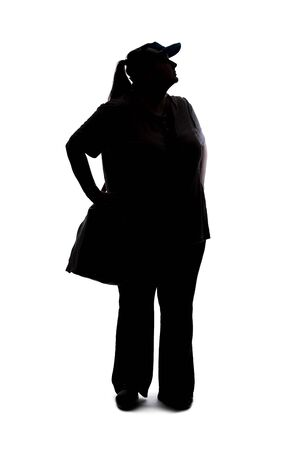 Silhouette of a curvy or plus size woman on a white background.  She is unrecognizable and standing or waiting