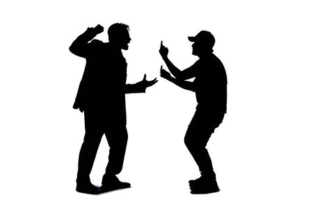 Silhouette of anonymous people on a white background fighting and being rude. They are expressing anger with violence and confronting in an aggressive manner