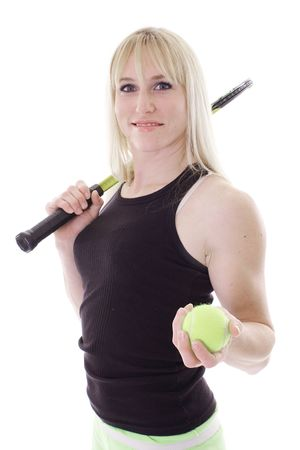 blonde with tennis racket and ball photo