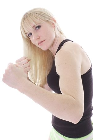 blonde in fight position photo